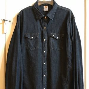 Denim shirt with pearl snap front